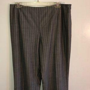 Dana Bachman gray wool pants w peach pinstripe